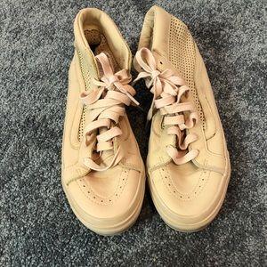 Vans Cream Pink Perforated High Top Sneaker Sz 9